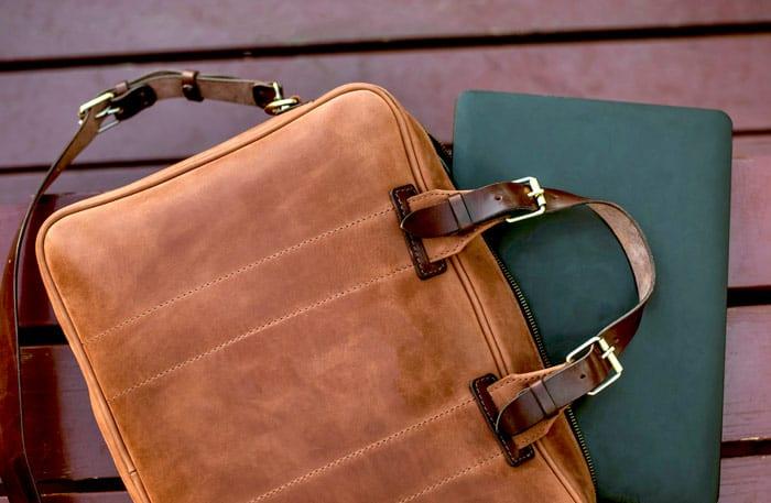 Laptoptasche Leder - Notebooktasche aus Leder Braun Vintage