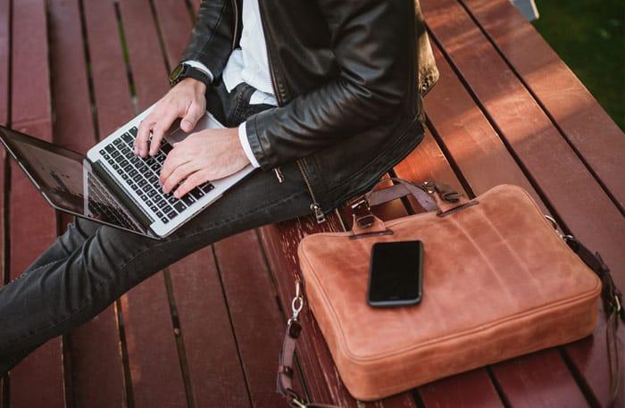 Leder Laptoptasche Herren - braun