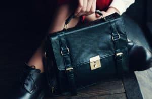 Aktentasche Leder Damen - schwarz
